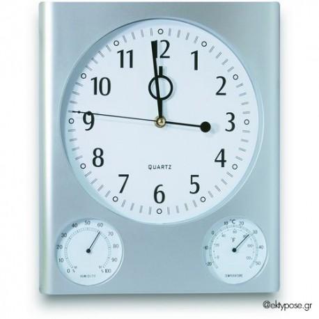 Ρολόι τοίχου με ενσωματωμένο θερμόμετρο, υγρόμετρο με εκτύπωση